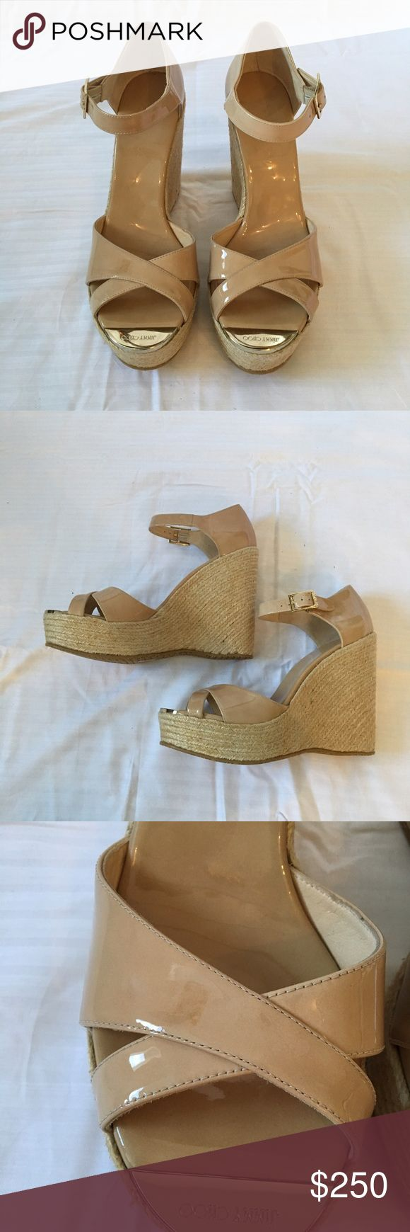 $150 P NEW Jimmy Choo Pallis Nude Espadrilles 42 PRICE IS THRU 🅿️ ONLY. Brand new Jimmy Choo Pallis Nude patent Espadrilles sandals. Size 42. Sizing may vary by shoe. Buckles are imperfect, see pics. Jimmy Choo Shoes Espadrilles