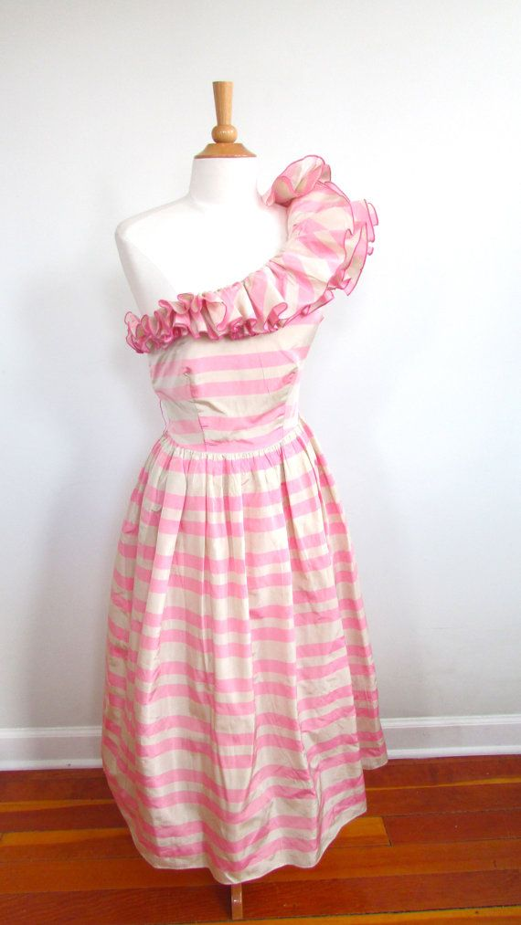 Vintage 1970's Pink and Cream Striped Prom Dress by LuvSickVintage