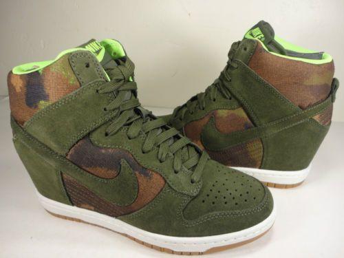 quality design dd237 e4163 ... Womens Nike Dunk Sky Hi Print Cargo Khaki Camo Wedge Rare SZ 7 (543258-  ...