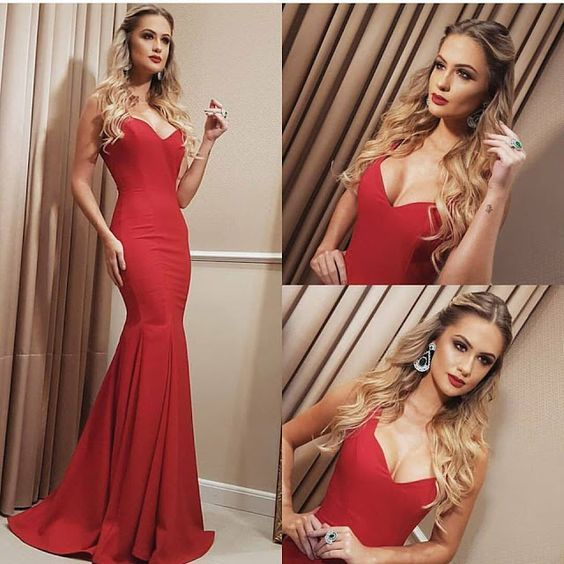 Sexy Prom Dresses,Red Prom Dress,Backless Evening Gown,Long Formal