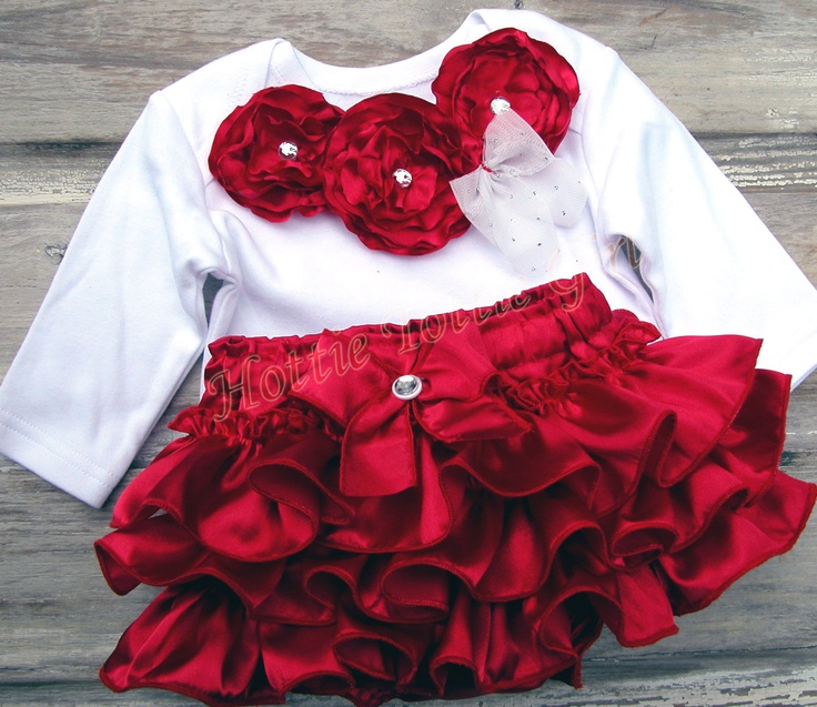 Valentines Rosette Ruffle Bloomer SET Baby Ruffle Diaper Cover Girl Outfit Red Rosettes Bling Lace Newborn Toddler Rose Bella Baby Blu 6255. $48.00, via Etsy.