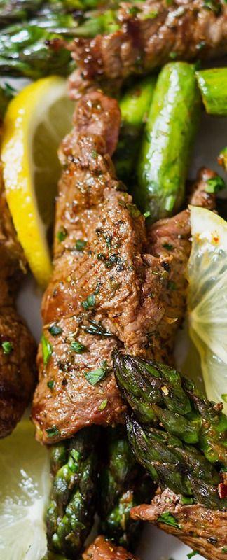 Grilled Steak Fajita Roll-Ups Recipe with Asparagus — Eatwell101