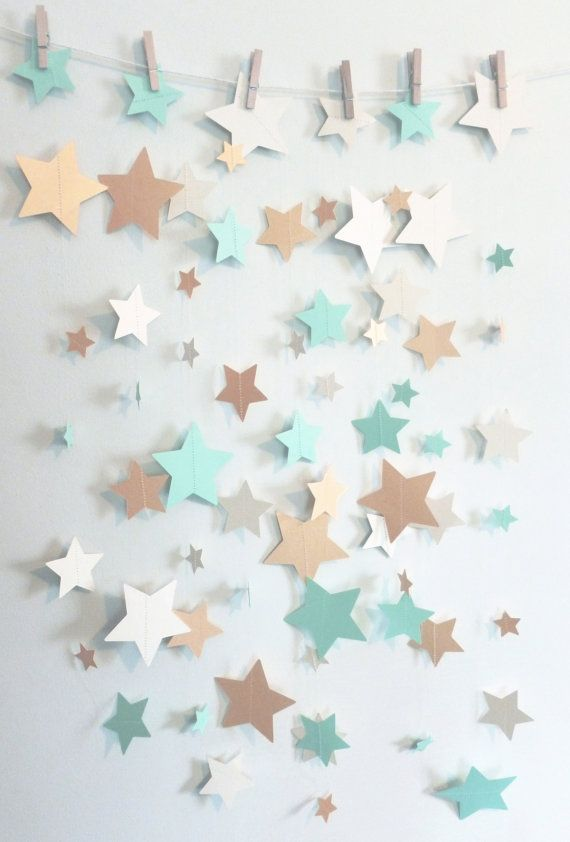 Pin this Mint, Shimmer Gold, and Ivory Stars Paper Garland | Child Bathe Decor