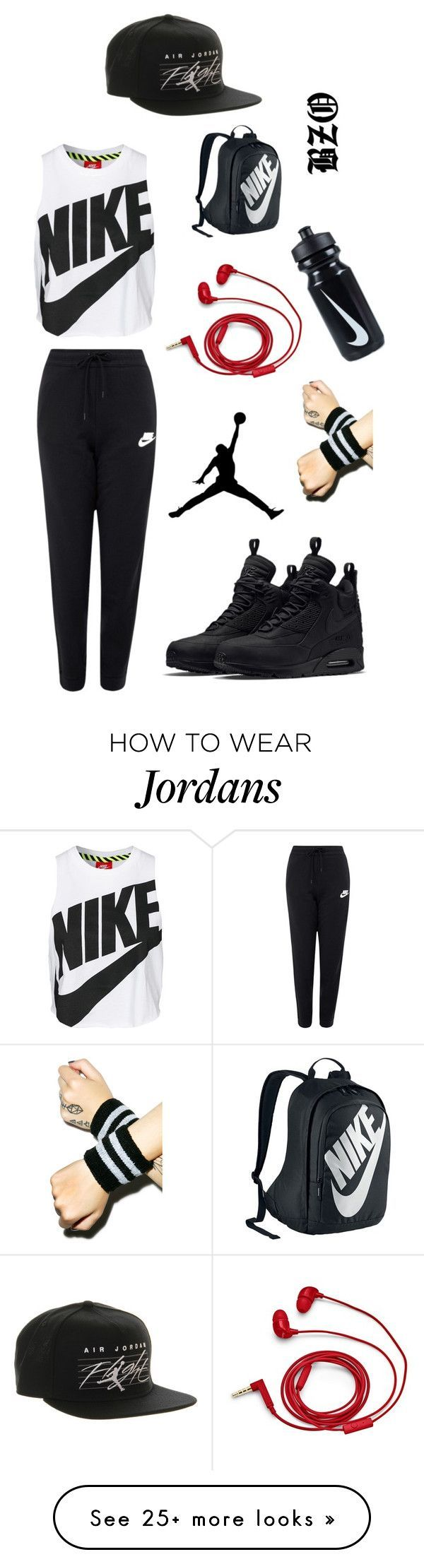 """A Nike Day"" by itzbrizo on Polyvore featuring NIKE, FOSSIL, women's clothing, women, female, woman, misses, juniors, black and red"