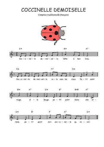 Téléchargez la partition gratuite de la chanson Coccinelle demoiselle, Chanson pour enfants avec accords de guitare. Chanson traditionnelle
