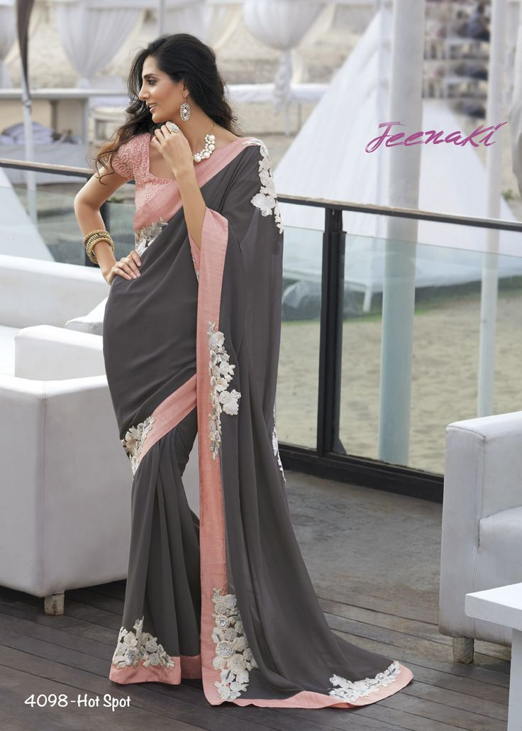 Grey Georgette Party Wear Saree With Jute Georgette Chicken Blouse at Lalgulal.com Price :- 3,393/- inr. To Order :- http://goo.gl/eA1B8H To Order you Call or Whatsapp us on +91-95121-50402 COD & Free Shipping Available only in India.