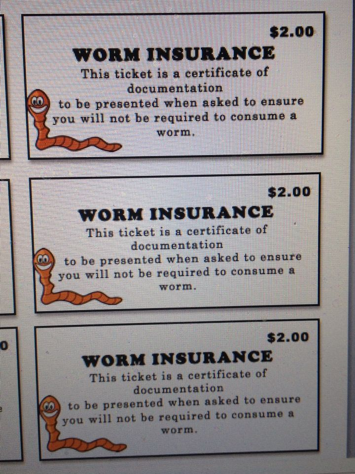 cards is $2 says must show insurance card before claiming a prize or eat a live worm to claim the price)