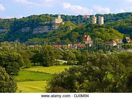Rudelsburg and Saaleck Castle, Saxony-Anhalt, Germany - Stock Image