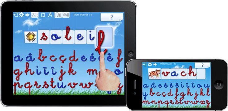 Dictée Muette Montessori: a French spelling game with four different levels and three different scripts (uppercase, lowercase, and cursive).  You see a picture, hear its name, then drag and drop the letters to spell out the word pictured.  When you tap a letter, you hear its most common pronunciation; as a result, Griffin has learned to spell words (lac, lavabo, etc.) that he wouldn't have even been able to read otherwise!  He has also started paying attention to diacritics thanks to this…