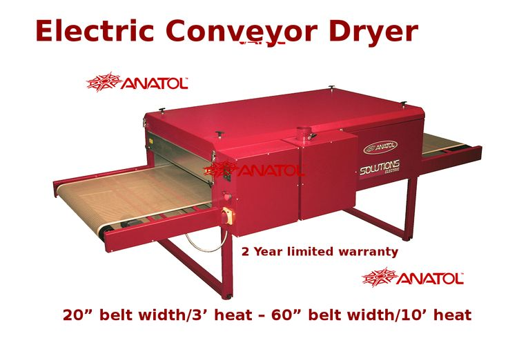 Anatol Equipment Manufacturing Co. Electric screen printing conveyor dryers for sale at large and small scale textile printing facilities with limited space in 2 year limited warranty offer.