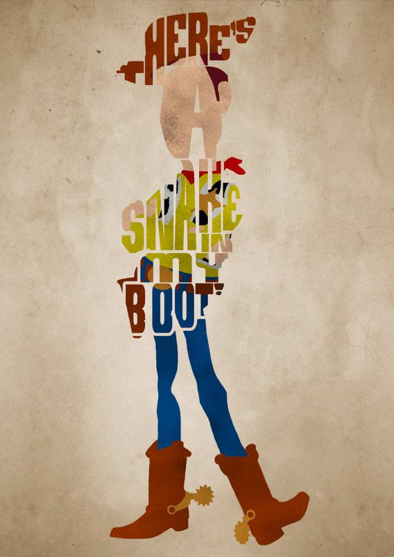 Sheriff Woody, Toy Story Poster - Minimalist Typography Poster, Movie Poster, Art Print, Illustration, Wall Art on Etsy, £12.00