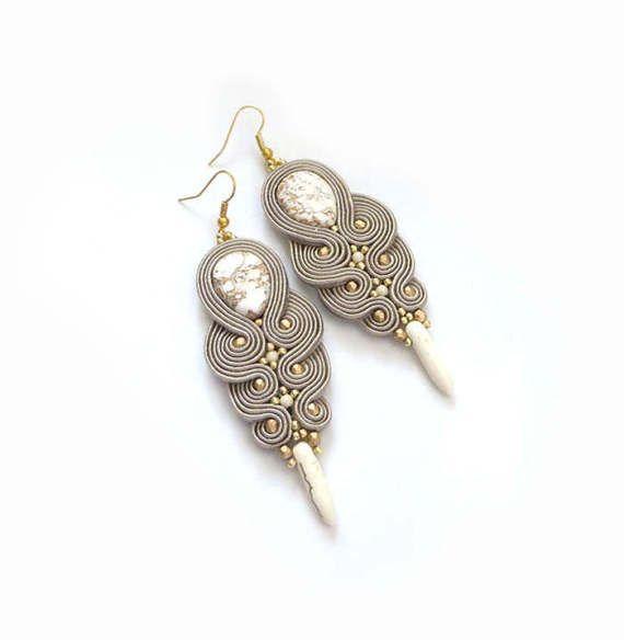 Beige ivory gold clip on earrings  soutache earrings by sutaszula