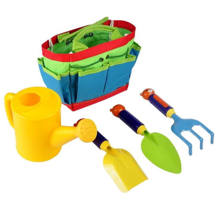 Autrix Kids Garden Tool Set Gardening Tools with Tote. Durable and sturdy material: mini hand rake shovel tools are made with solid plastic handles and good quality metal heads; watering can toy is made from sturdy plastic; tote bag is made from compact canvas. Size: Shovel/ Rake/ Spade - 8.27 inch(L), which are perfect for children's hands; Canvas tote has front, back and side pockets to carry, convenient for storage; Nice gift for children. Gardening with kids is a wonderful way to…