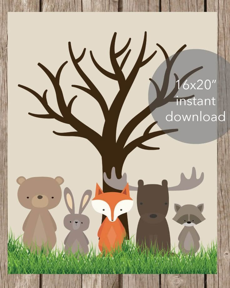"""Printable Woodland Baby Shower Thumbprint Tree 16x20"""" and 11x14"""" included. Thumbprint guests book for a baby shower!"""