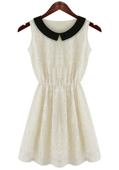White Embroidery Pleated Peter Pan Collar Lace Dress