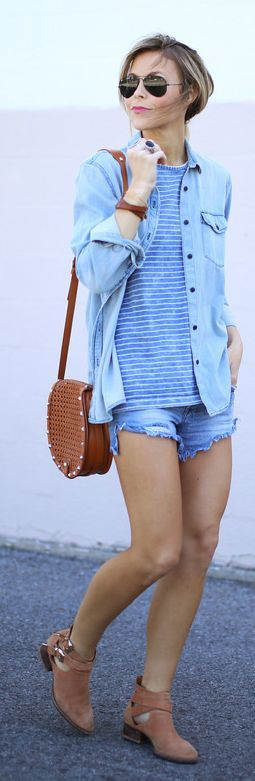 1969 Washed Chambray Boyfriend Shirt by Happily Grey