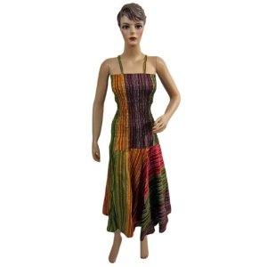 Womens Stripes Print Chick Spaghetti Strap Smocked Long Cotton Dress (Apparel)  http://www.amazon.com/dp/B0086SX9HY/?tag=guimagtab-20  B0086SX9HY