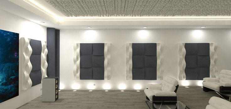 EliAcoustic Curve 60 First, on walls, to control first reflections. This solution reduces reverberation time. Acoustic Panels with decorative finish.
