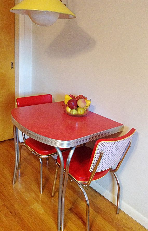 Art Deco Red Retro Formica Refurbished Extended Half Dining Table Or Kitchen Island