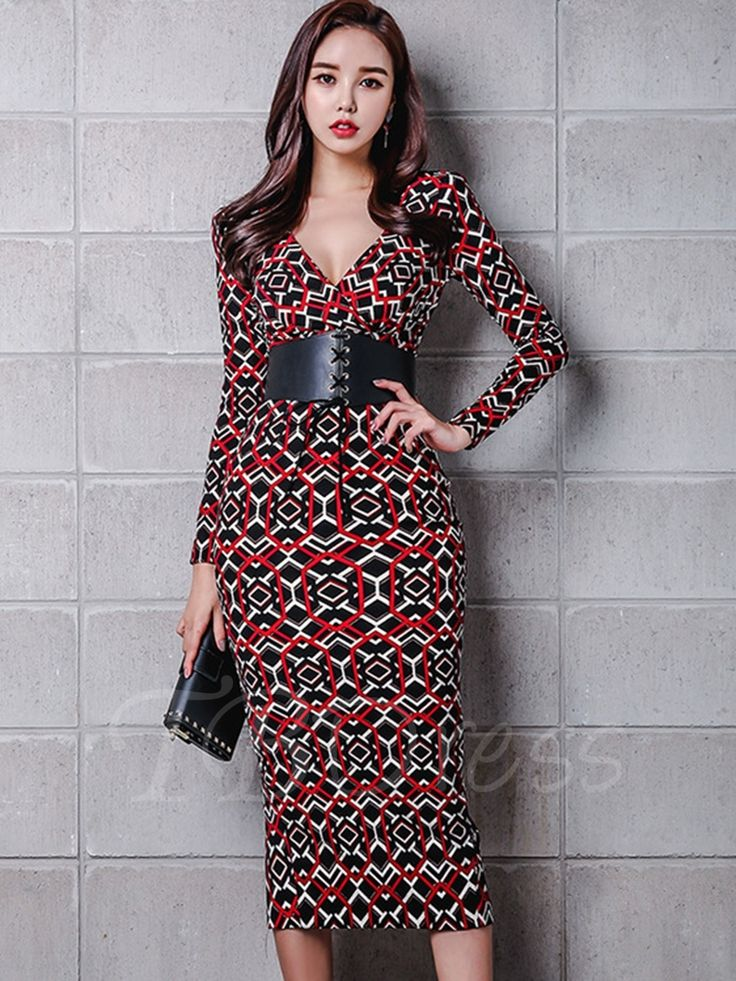 Tbdress.com offers high quality Red Deep V Neck Back Split Women's Bodycon Dress Bodycon Dresses unit price of $ 28.99.