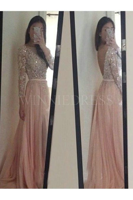 Shop discount Sheer Long Sleeve Sequin Illusion Bodice Tulle Pleated Backless…