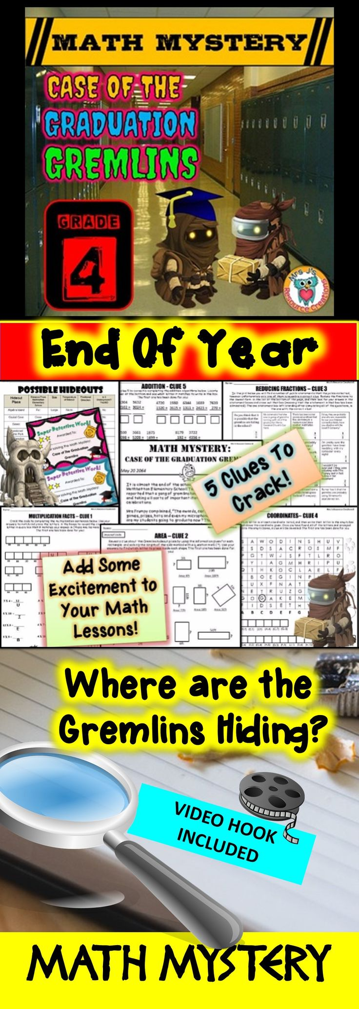 End of Year Math Mystery: Case of The Graduation Gremlins - Fourth Grade Version. Fun Math Review Activity!