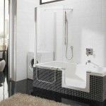 Walk in bathtub and shower combination with black and white colors theme | Home Interior & Exterior