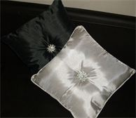 Gorgeous decorative cushions. 40cm x 40cm. Available in Charcoal or Ivory. Features a large crystal diamante on the front and a smaller one on the back. $24.00 each/  www.thecrystalcave.vpweb.com.au