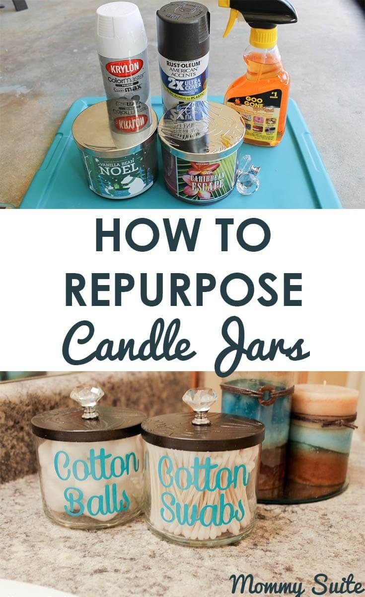 Upcycled Candle Jar Bathroom Storage