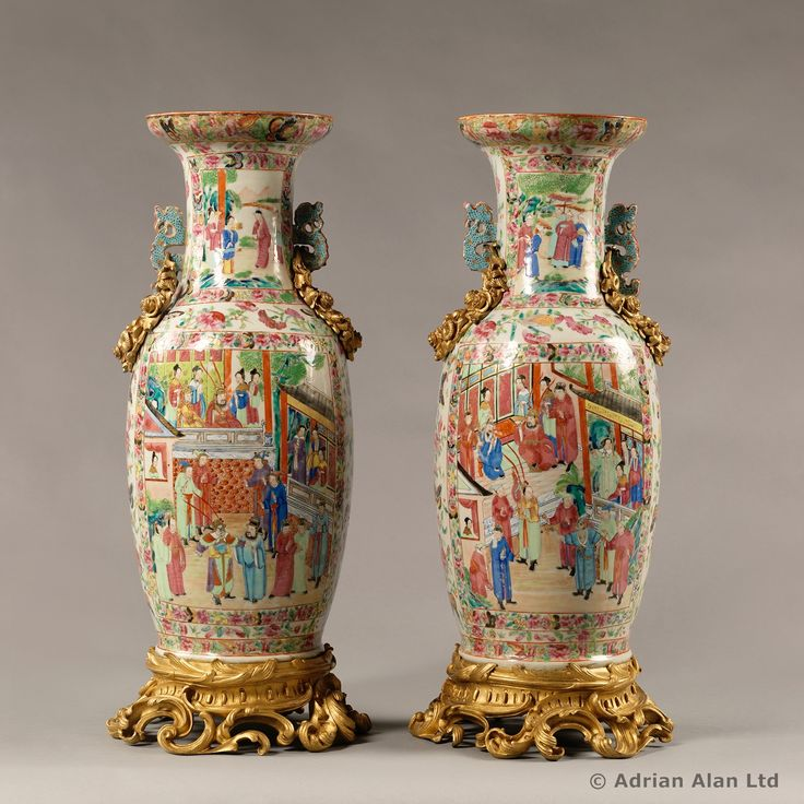 A Good Pair Of Gilt Bronze Mounted Famille Rose Porcelain Vases With Dragon Handles Chinese