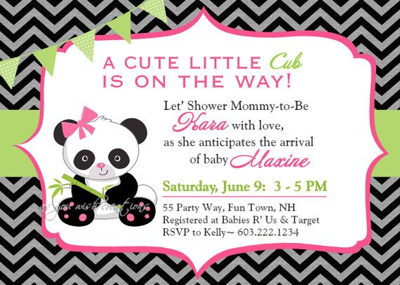 Panda Baby Shower Invitation Girl by AsYouWishCreations4u on Etsy