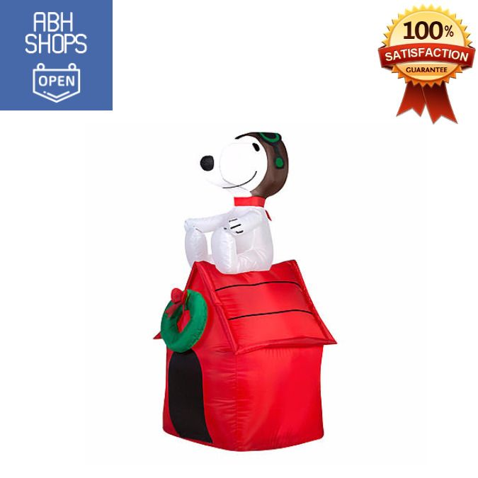 9' Light Up Airblown Inflatable Snoopy On House Outdoor Christmas Holiday Decor #DoesNotApply