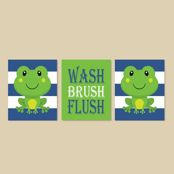 Kids Bathroom Frog Bathroom Decor Wash Brush Flush Bathroom Rules Wall Art  Blue Set Of 3
