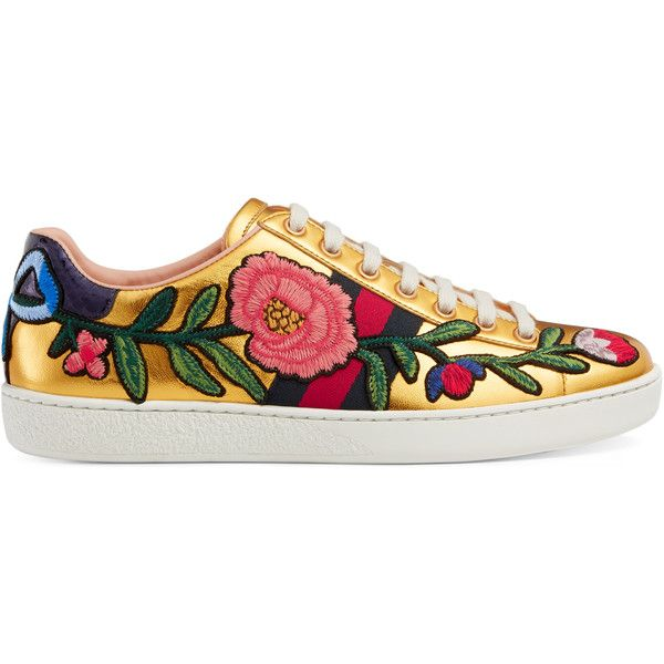 Gucci Ace Embroidered Sneaker ($640) ❤ liked on Polyvore featuring shoes, sneakers, gucci, women, gucci sneakers, leather sneakers, leather shoes, floral print sneakers and leather trainers