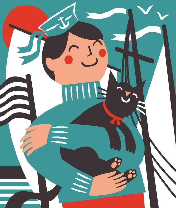 Ships cat and sailor nautical illustration by Matt Johnson for Seasalt Cornwall