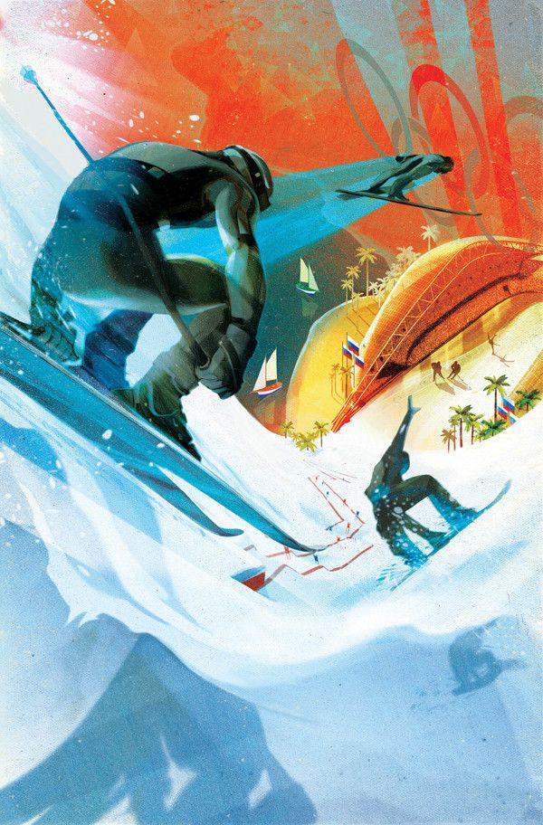 SOCHI 2014 Winter games sport illustration for NYT by Francesca D'Ottavi, via Behance