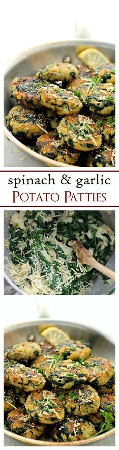 Spinach and Garlic Potato Patties Delicious and flavorful Patties made with a mixture of potatoes, spinach and garlic #healthy #spinach #recipes
