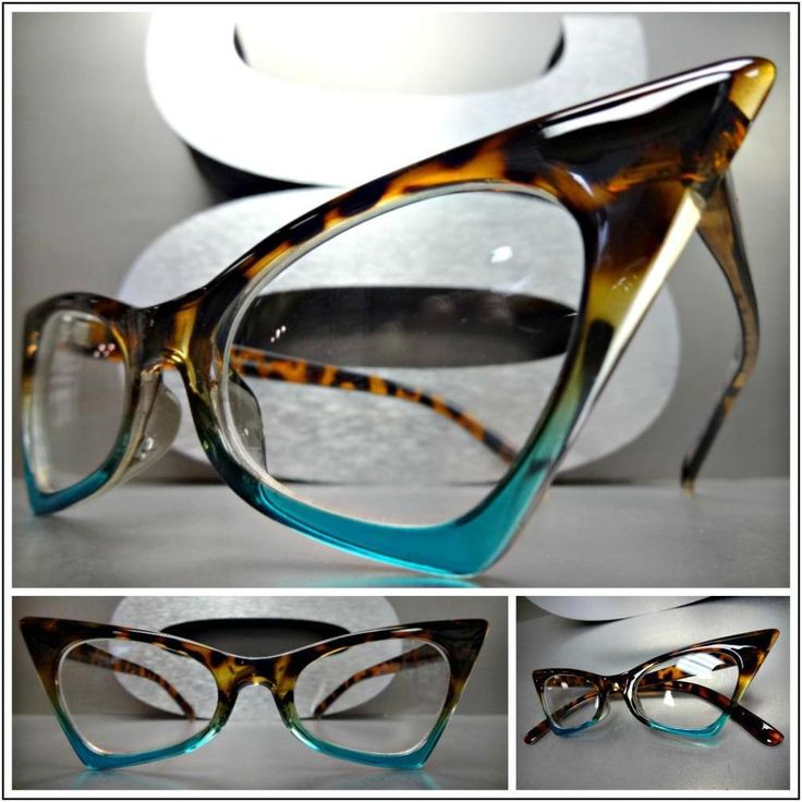 Details about classic retro cat eye style clear lens eye