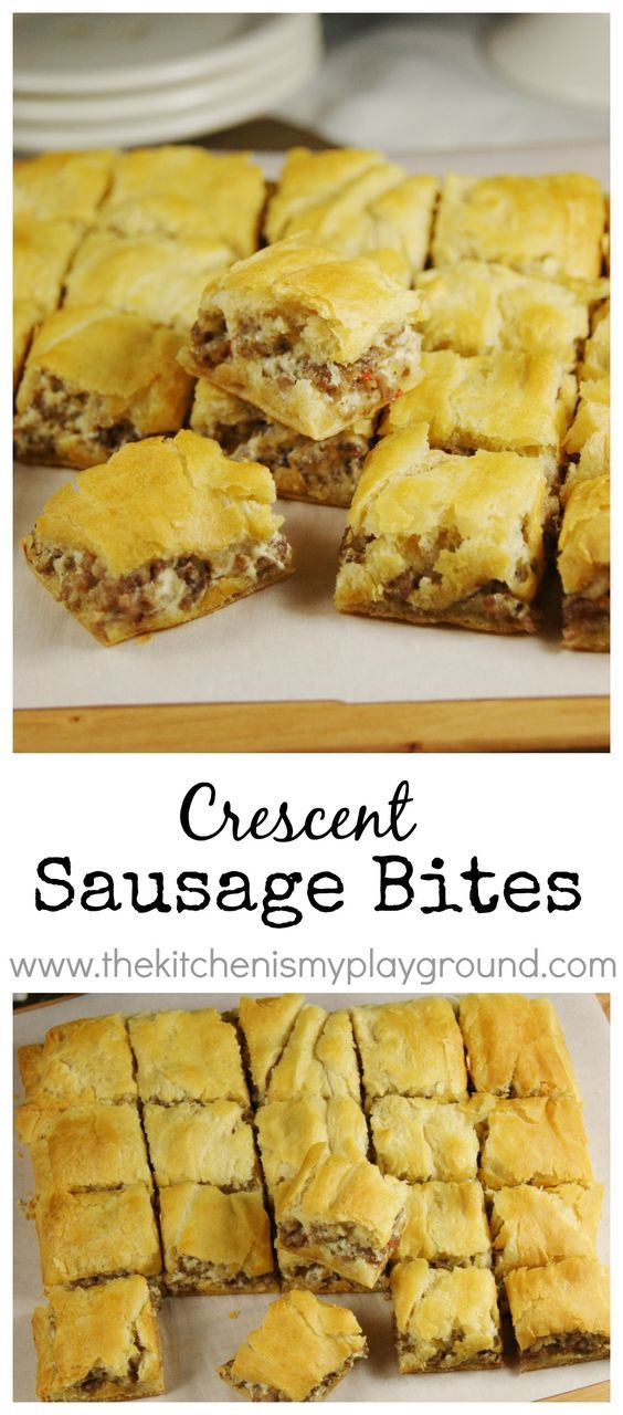 Crescent Sausage Bites ~ 3-ingredient super simple party favorite! www.thekitche…