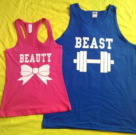 Great matching couples tank tops.