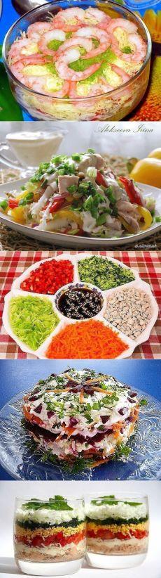 """15 рецептов салата без майонеза: 1. Вкусный винегрет 2. Салат """"Эдельвейс"""" 3. """"Греческий"""" салат 4.  """"Леди"""" 5.  """"Витаминный"""" 6. Салат с курицей, перцем и морковью 7. Салат с капустой, кукурузой и без майонеза 8.  «Мореман» 9. """"Курочка-Снегурочка"""" 10. «Царь Китая» 11. Праздничный салат """"Новогодний снег"""" 12.  """"Полосатый"""" 13. ″Розы″  14.  """"Шемахинский"""" 15. с хурмой и козьим сыром"""