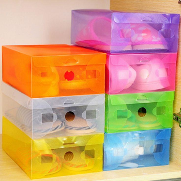 Foldable Plastic Transparent Toughness Shoes Box Durable Clean Reusable Dustproof Container Organizer Storage
