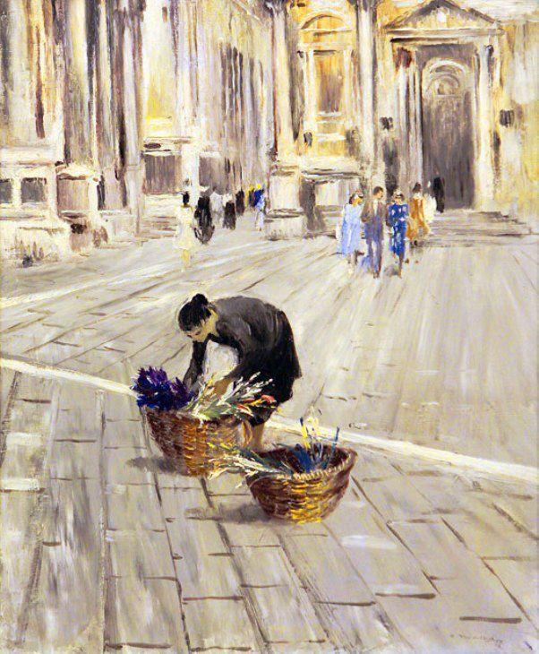 Пименов Юрий Иванович (Yuri Pimenov 1903–1977).  Одинокая продавщица цветов. Венеция. 1958