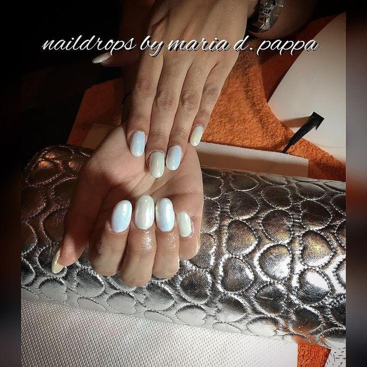 #manicure #whitenails #perlnails #mermaidnails