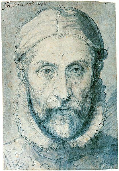 File:Giuseppe Arcimboldo.Giuseppe Arcimboldo (d. 1527, Milan - ö. 11 Temmuz 1593, Milan), İtalyan ressam, mimar, sahne tasarımcısı, mühendis ve sanat danışmanı.  Resimlerinde meyve, sebze, hayvan, kitap gibi birçok nesneyi, insan portrelerini andıracak şekilde düzenlemiştir. Çift imgeli bu resimler, 20. yüzyılda başta Salvador Dali olmak üzere birçok gerçeküstücü ressam tarafından örnek alınmıştır