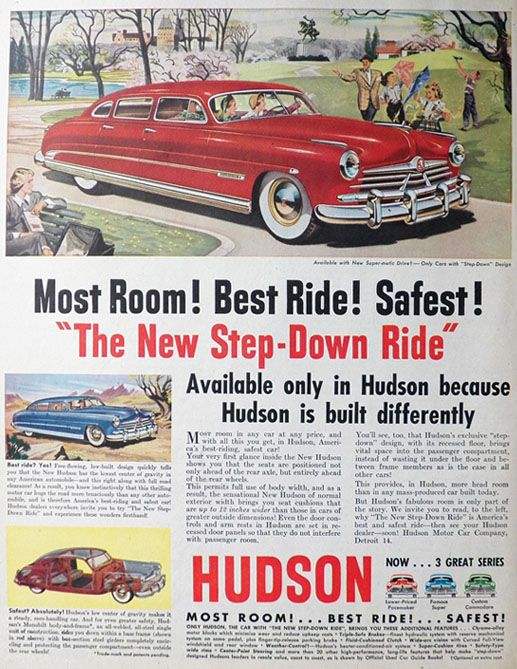 "Vintage Ads 1950s | 1950 Hudson Car Ad ~ ""Step-Down"" Design, Vintage Car Ads"