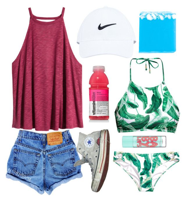 """Day 3: Disney waterparks and sunburns"" by fandombreather ❤ liked on Polyvore featuring H&M, NIKE, Converse and Maybelline"