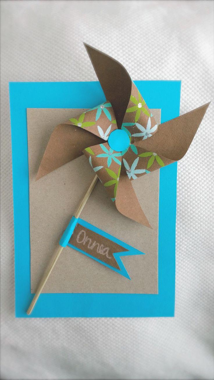 Onnittelukortti poikavauvalle/  Card for baby boy/ pinwheel