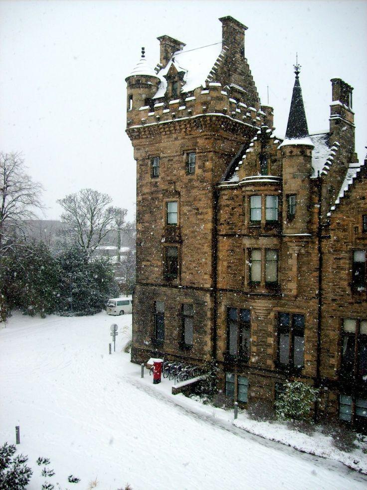 Día nevado Edinburgh, Escocia