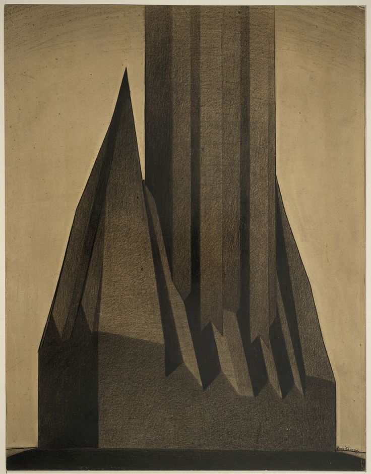 Hugh Ferriss, study for maximum mass permitted by the 1916 New York Zoning law, 1922. Drawing. USA. Via Cooper Hewitt